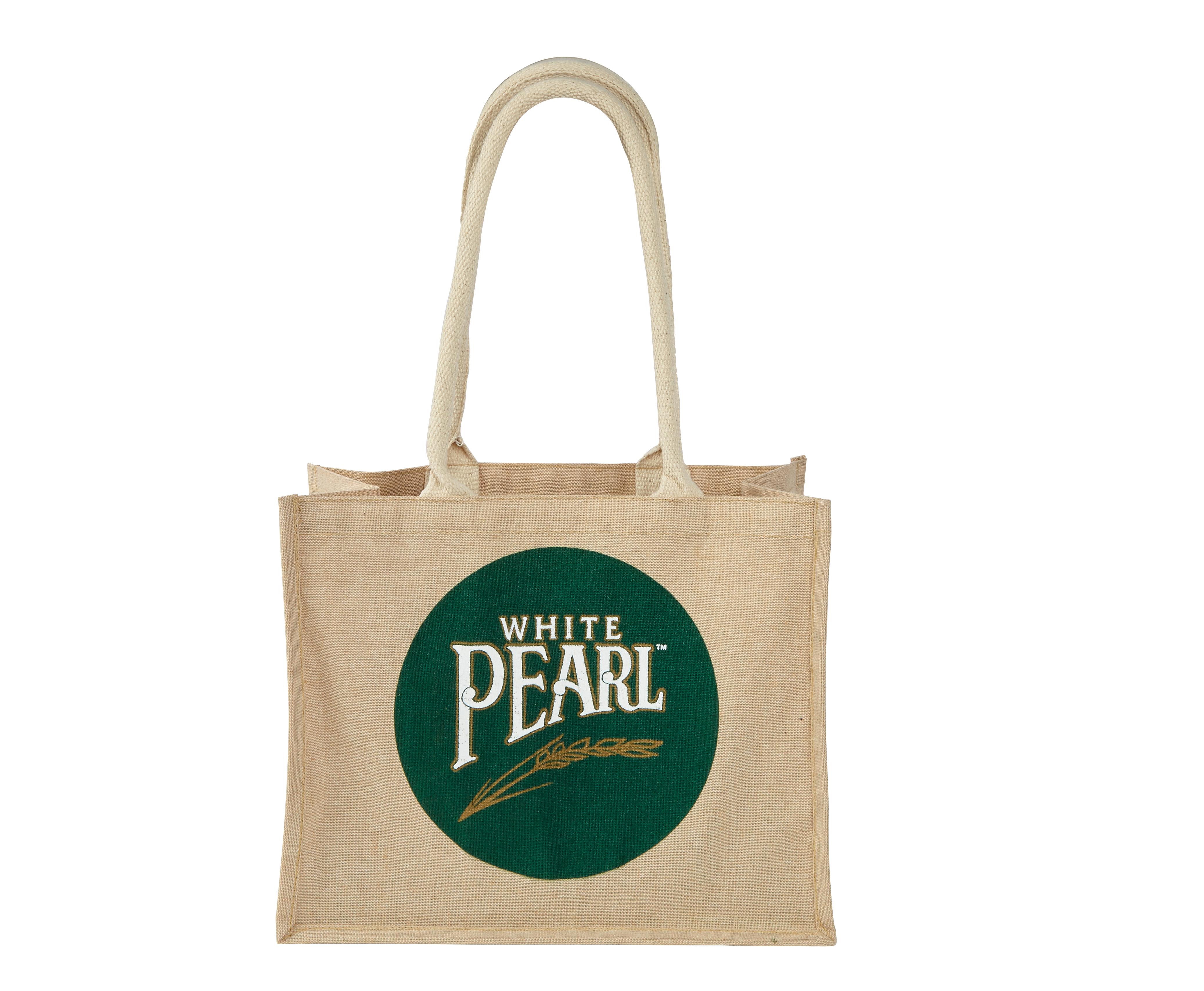 White Pearl Printed Juco Long Handle Shopper Bag