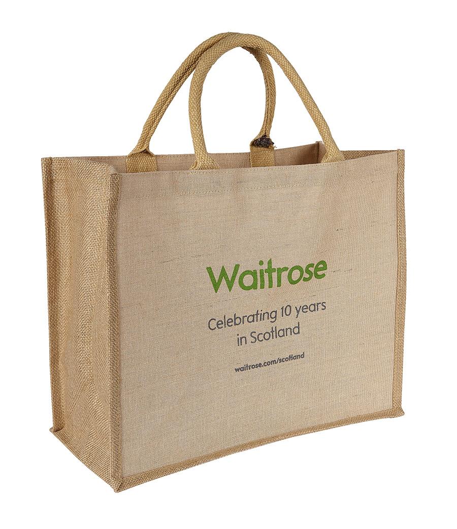 Customised Canberra Jute Bag with Waitrose Logo